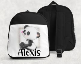 Rugtas met naam | Pandabeertje zittend