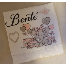 Babydeken | Olifantje roze met cadeautjes