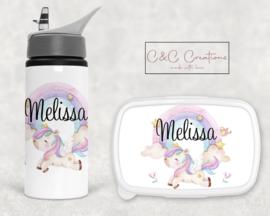 Broodtrommel en beker | Unicorn regenboog