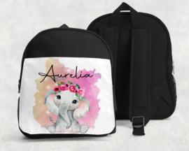 Rugtas met naam | Olifantje bloemenkrans