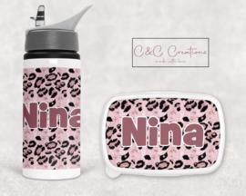 Broodtrommel en beker | Leopard pink