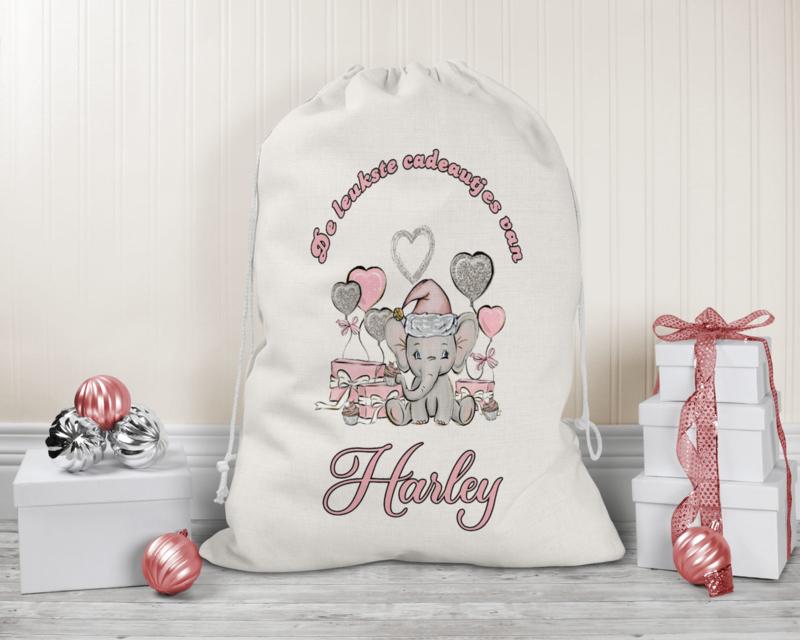 Cadeauzak | Olifantje roze met cadeautjes