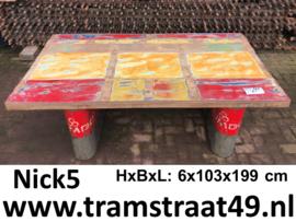 Teakhouten tafelblad rood / geel
