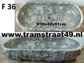 Riviersteen trog grijs / wit