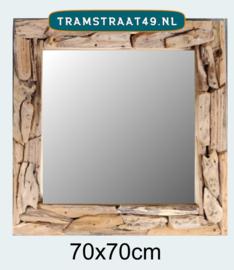 Vierkante spiegel sprokkelhout 70x70 cm