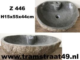 Riviersteen waskom met kraangat (55x44cm)
