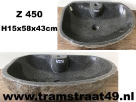 Riviersteen waskom met kraangat (58x43cm)