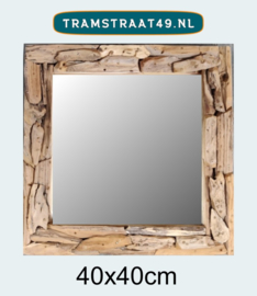 Spiegel sprokkelhout vierkant 40x40 cm