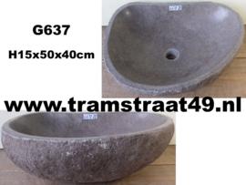 Bruine riviersteen waskom (50x40cm)