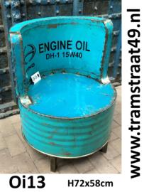 Olievat stoel lichtblauw