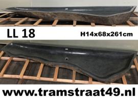 Extra lange riviersteen wasbak (260 cm) met rechte achterzijde