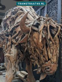Levensgroot bizon beeld (300cm lang)