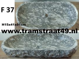 Wasbak trog natuursteen grijs