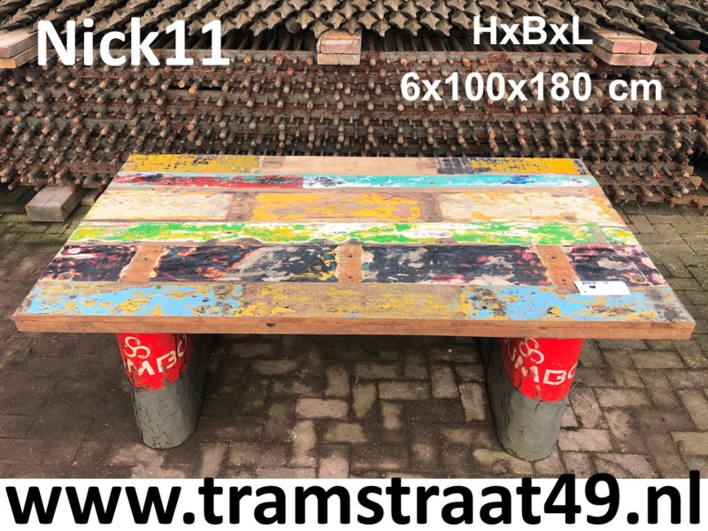 Bureaublad gerecycled hout 180cm