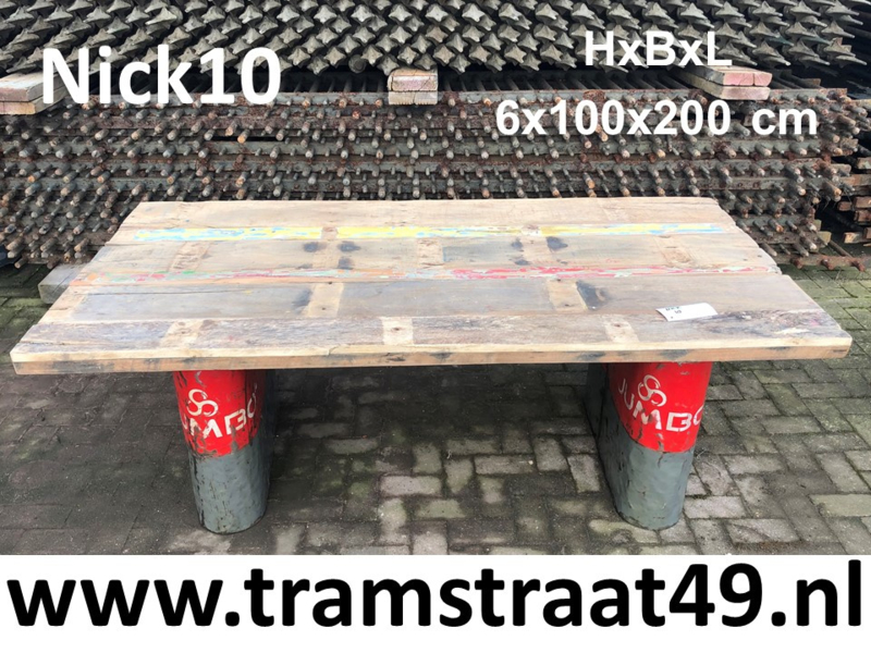 Gerecycled hout tafelblad 200x100cm