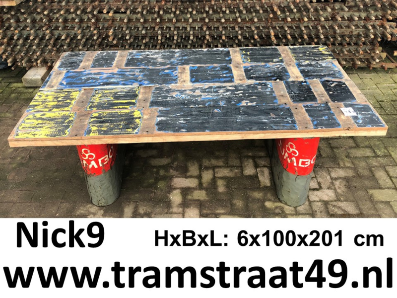 Tafelblad gerecycled hout blauw