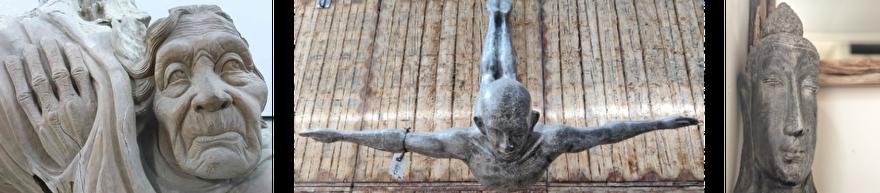 Teakhout beeld van ouder persoon, metalen beeld van een duiker en een keramieken beeld van een buddha