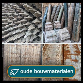 oude bouwmaterialen, hekwerk, pilaren, rekken en wandpanelen