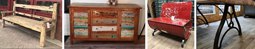 Interieur selectie met een teakhout bank, sloophout meubel, olievat bankje en industriiële tafelpoten