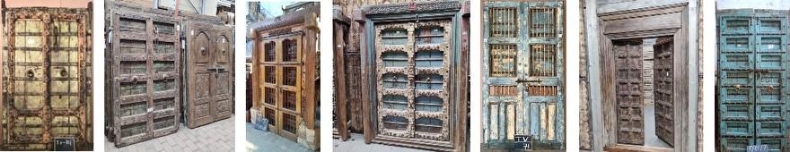 Oude deuren selectie, 6 donkerbruine oude Indiase deuren, met groene, gele of blauwe nuances.