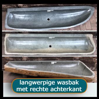 Langwerpige riviersteen wasbakken van 150 tot 260 cm lang