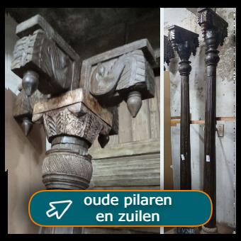 Oude pilaren en zuilen van teakhout per 2 of 4