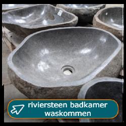 Riviersteen waskommen in middel en groot voor de badkamer bij Tramstraat49