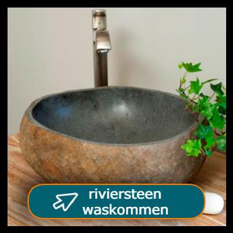 Riviersteen waskom met zilveren kraan