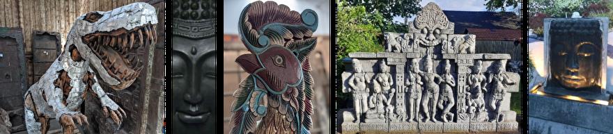 Diverse beelden en sculpturen waaronder een dinosaurus, boeddha wandpaneel, haan, een tempelmuur en een boeddha fontein