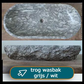 Lange grijs / witte wasbakken - trog wasbak