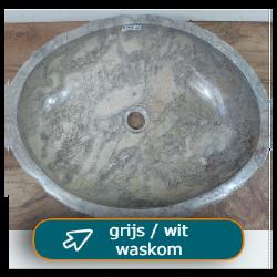 Wit / grijze natuurseen waskommen in klein, middel en groot