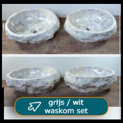 Riviersteen waskom set grijs / wit - dubbele waskommen