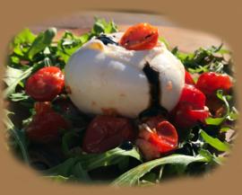 Uitbreiding antipasti - Burrata met gegrilde tomaatjes