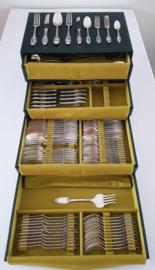 Wiskemann, Brussel - Verzilverd bestek in 1er Empire stijl - zeldzaam model - 115-delig/12-persoons in originele cassette