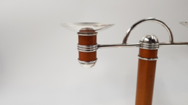 "Christofle - A silver-plated double ""Laque de Chine"" Art Deco candelabra"