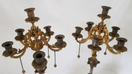 A pair of Napoleon III candelabras in Ormolu, patinated bronze and Onyx - France, 1850-1875