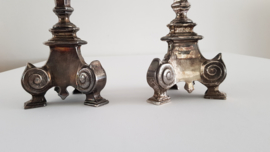 A pair of silver-plated Church candlesticks in Revival style - end of the 19th century