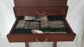 Verzilverd Art Deco bestek - Sivar (Delheid Frères) - 122-delig / 12 persoons - in Mahoniehouten cassette