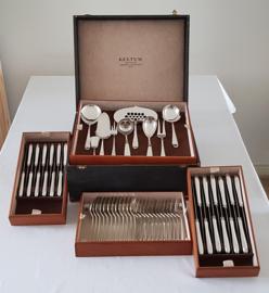 Silver plated cutlery in cassette - 143-piece / 12-person - model P2 Point fillet - Keltum, van Kempen & Begeer