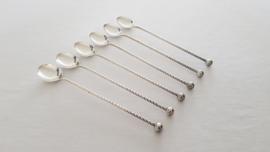 6 twisted, silverplated Ice-cream spoons - Herbert Hooikaas, Zilverfabriek Schoonhoven