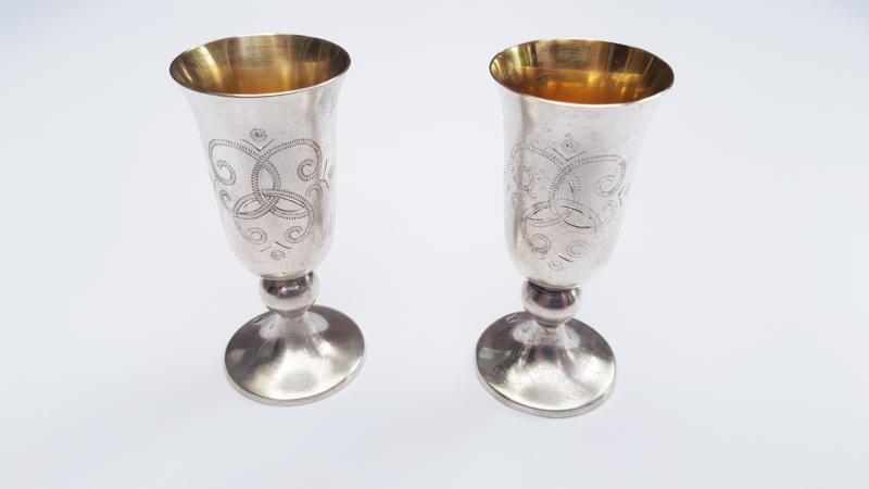 2 Vodkabekers  -.916 Zilver & Vermeil - Tallin Juwelenfabriek - U.S.S.R., 1975