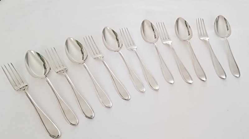 6 Hollands zilveren dinercouverts - model Puntfilet - 2e gehalte (.835 zilver) - Gerritsen & van Kempen, 1928
