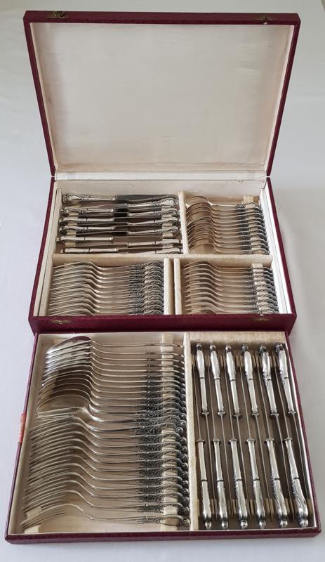 Verzilverd bestek in Louis XV / Rococo stijl - 84-delig/12-persoons - Silber 100 - Solingen, Duitsland