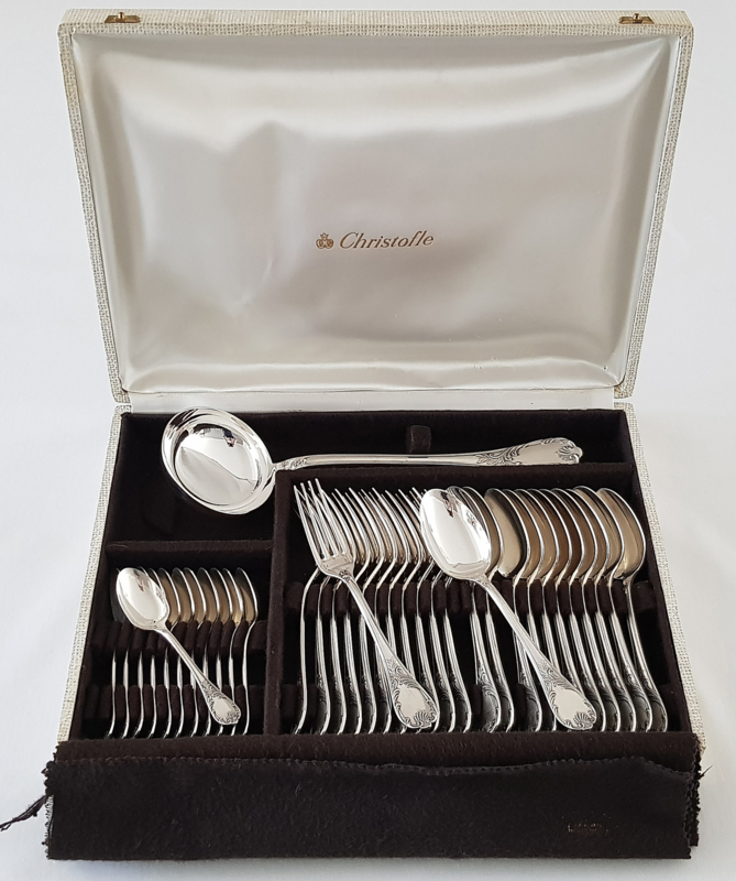 Christofle - Silver plated cutlery canteen for 12 persons, Marly pattern- 37-pieces