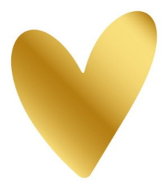 Sticker - Big Heart Gold - 5 stuks