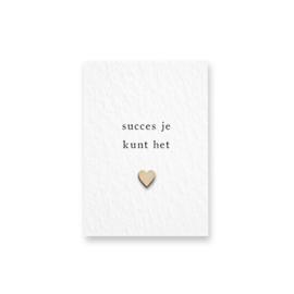 Mini kaartje met houten hartje - Succes je kunt het