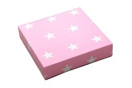 Cadeaudoosje - Roze met witte sterren