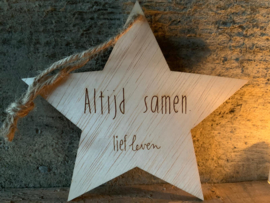 Houten ster - Altijd Samen
