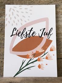 Ansichtkaart - Liefste juf bloem roze