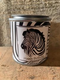 Cadeaublikje - Zebra, Happy Birthday
